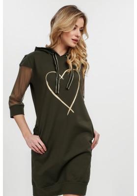 Bavlnené šaty s kapucňou a tylovými rukávmi, khaki