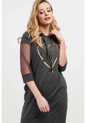 Bavlnené šaty s kapucňou a tylovými rukávmi, šedé