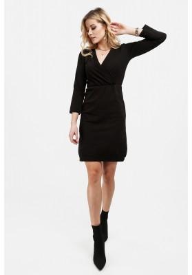 Czarna sukienka z kopertowym dekoltem dopasowana 4072
