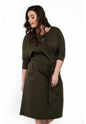 Sukienka w dużych rozmiarach na co dzień khaki B18