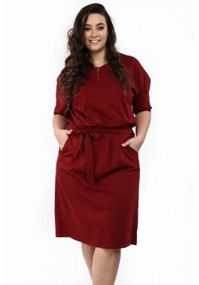 Sukienka w dużych rozmiarach na co dzień bordowa B18