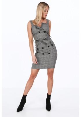 Trendové šaty so širokými ramienkami v módnom šedom šate