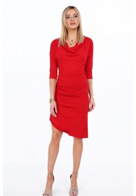 Bavlnené šaty s ozdobným volánovým riasením, červené