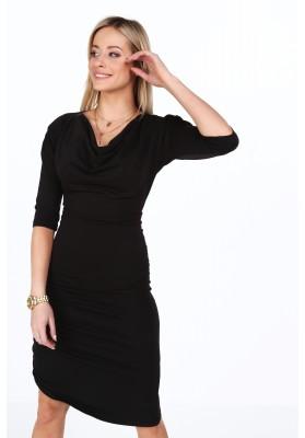 Bavlnené šaty s ozdobným volánovým riasením, čierne