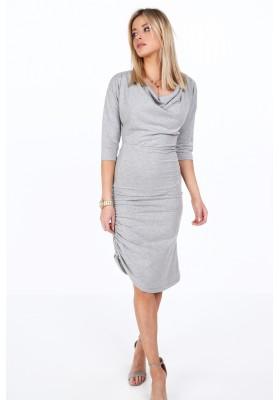 Bavlnené šaty s ozdobným volánovým riasením, sivé