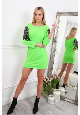Bavlnené šaty s krídlami na rukávoch, zelené