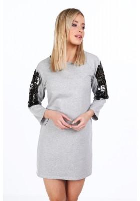 Bavlnené šaty s krídlami na rukávoch, sivé