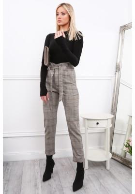 Elegantné kárované nohavice, BLACK/CLARET