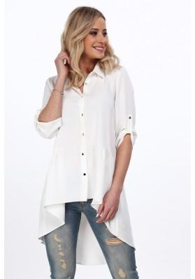 Krémová elegantná košeľa s dlhším zadným dielom