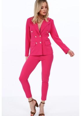 Moderná bunda s nohavicami v štýle kostýmu, cyklámenová