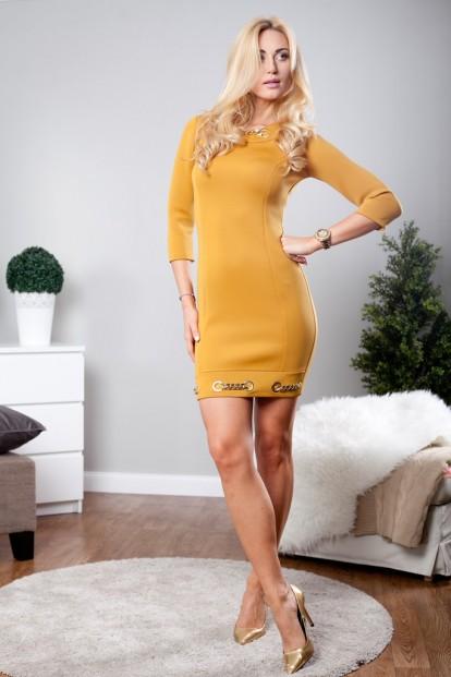 Horčicov mini šaty s dlhými rukávmi a zlatými aplikáciami