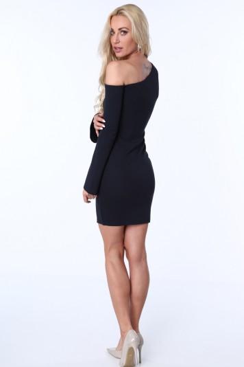 Dámske šaty s odhalenými ramenami, tmavomodré