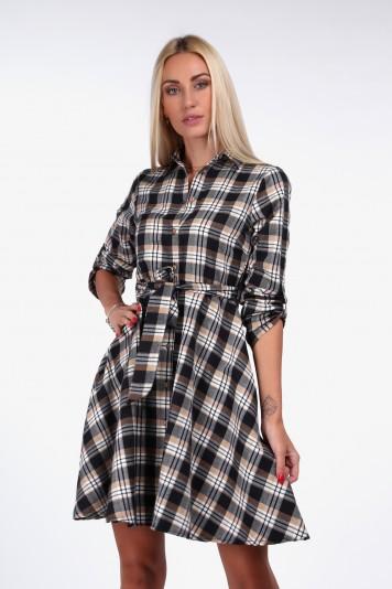 Krásne, kárované šaty košeľového strihu, béžové