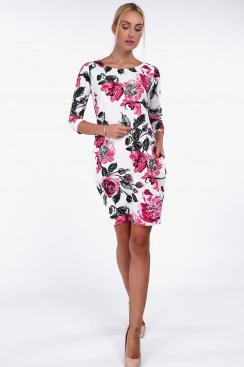 Pohodlné šaty s kvetinovými vzormi, krémové/AMARANTH