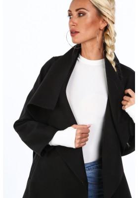 Dámsky kabát so širokým golierom, čierny
