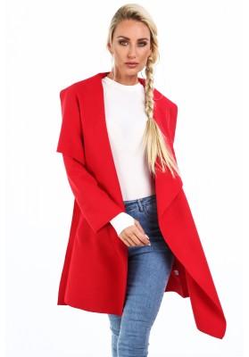 Dámsky kabát so širokým golierom, červený
