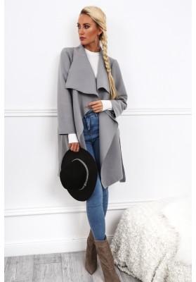 Dámsky kabát so širokým golierom, šedý
