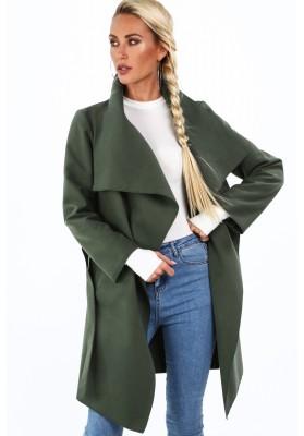 Dámsky kabát so širokým golierom, zelený