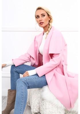 Dámsky kabát so širokým golierom, ružový