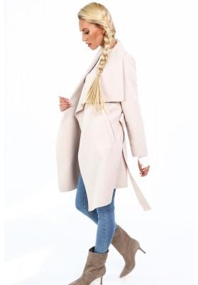 Dámsky kabát so širokým golierom, béžový