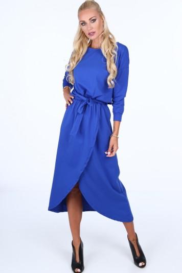 Modré dámske šaty s látkovým opaskom