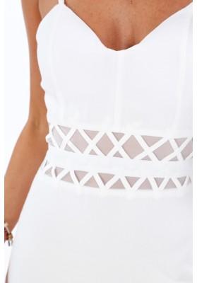 Dlhé krémové šaty s tenkými nastaviteľnými ramienkami