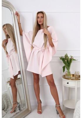 Moderné, oversize šaty podobné kimonu, púdrové