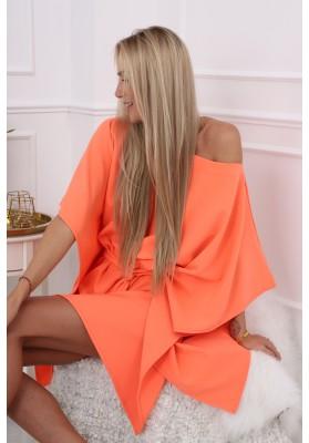 Moderné, oversize šaty podobné kimonu, oranžové