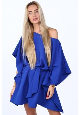 Moderné, oversize šaty podobné kimonu, modré
