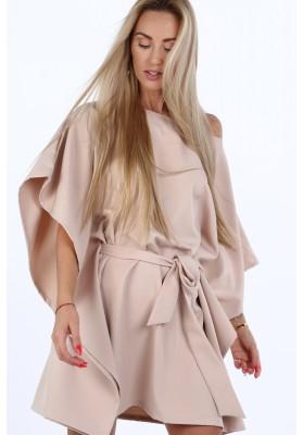 Moderné, oversize šaty podobné kimonu, kapučíno