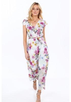 Maxi šaty s kvetmi, violet