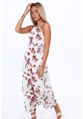 Krémové dlhé šaty s kvetinovými motívmi na tenkých ramienkach