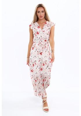 Maxi šaty s kvetmi, červené
