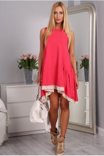 Korálové šaty bavlnené