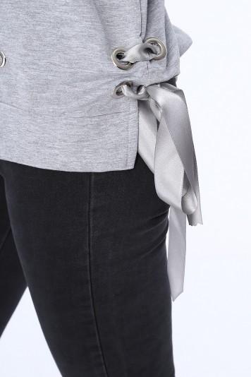 Moderná dámska mikina s potlačou, sivá