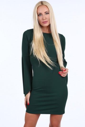 Tmavozelené dámske šaty s nadrozmernými rukávmi