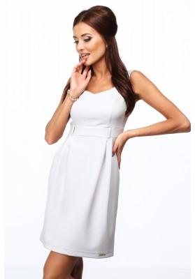 Elegantné šaty s výstrihom do V, na širokých ramienkach, sivé