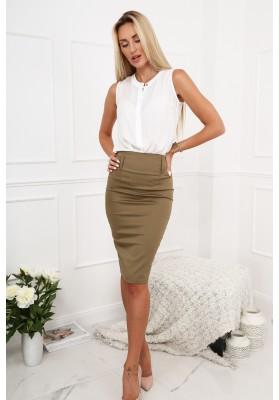 Elegantná ceruzková sukňa, khaki