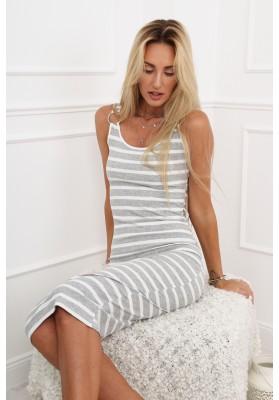 Bavlnené pruhované šaty s polkruhovým výstrihom, sivé