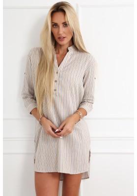 Bavlnené pruhované šaty/tunika, béžová