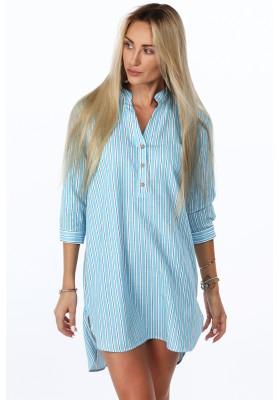 Bavlnené pruhované šaty/tunika, modrá