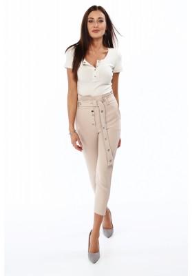 Elegantné nohavice s vysokým pásom, béžové