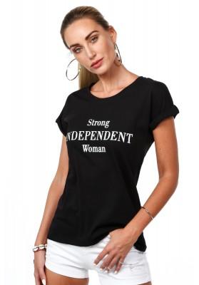 Bavlnené tričko s nápismi na prednej strane, čierne