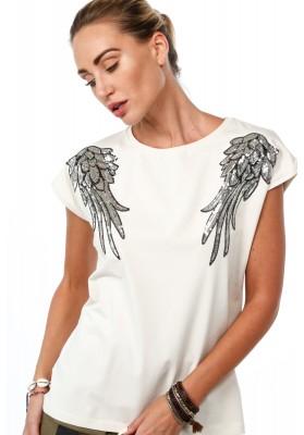 Bavlnené tričko s flitrovými krídlami na pleciach, béžové