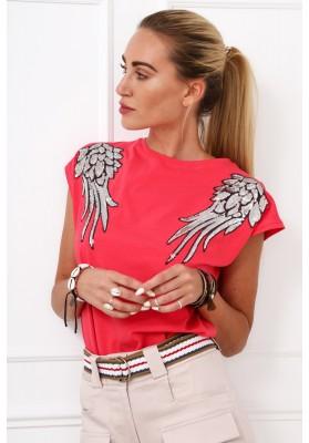 Bavlnené tričko s flitrovými krídlami na pleciach, koralové