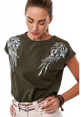 Bavlnené tričko s flitrovými krídlami na pleciach, khaki