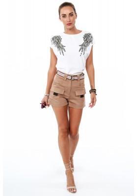Bavlnené tričko s flitrovými krídlami na pleciach, biele
