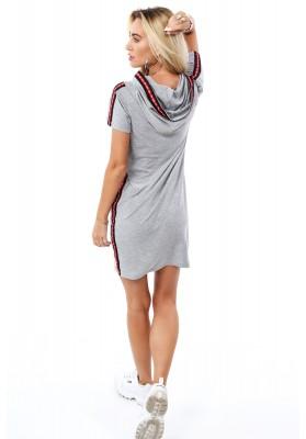 Pohodlné bavlnené šaty s kapucňou, sivé