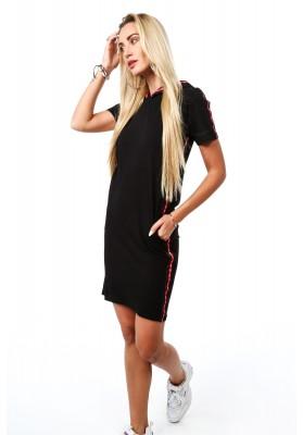 Pohodlné bavlnené šaty s kapucňou, čierne