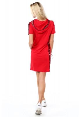 Pohodlné bavlnené šaty s kapucňou, červené